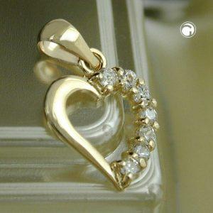 Pendentif coeur 14mm avec zircon 9k or Krossin bijoux or 431142x