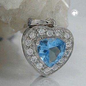 Pendentif coeur Zircon bleu cristal argent 925 Krossin bijoux en argent 92493x