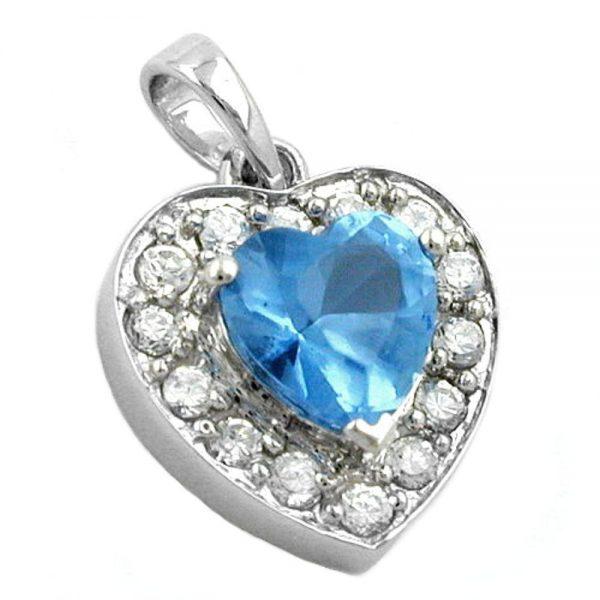 Pendentif coeur Zircon bleu cristal argent 925 Krossin bijoux en argent 92493xx