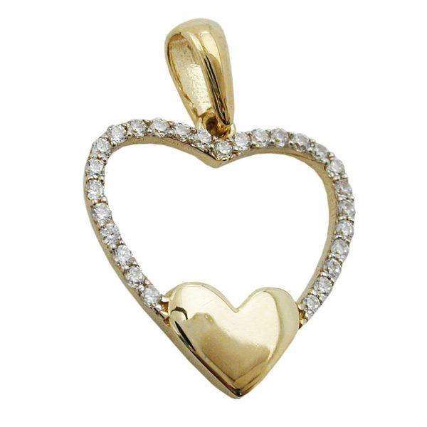 Pendentif coeur Zircons en or 9 carats 431302xx