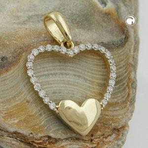 Pendentif coeur Zircons en or 9 carats Krossin bijoux or 431302x