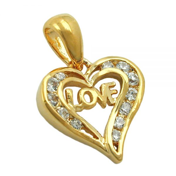 Pendentif coeur amour 3 microns plaque or 30038xx