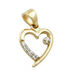 Pendentif coeur avec 5 cristaux de zircon cubique en or 9 carats 431188xx