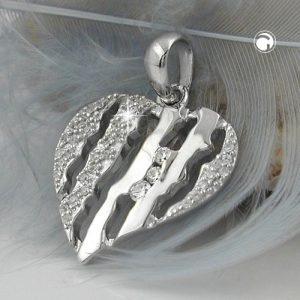 Pendentif coeur avec Zircons argent 925 Krossin bijoux en argent 94012x