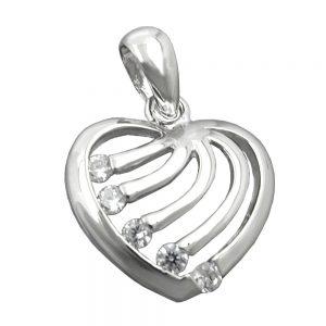Pendentif coeur avec Zircons argent 925 Krossin bijoux en argent 94020xx