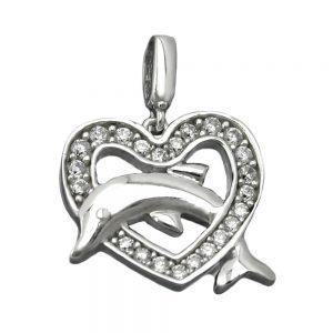 Pendentif coeur avec dauphin argent 925 Krossin bijoux en argent 90571xx