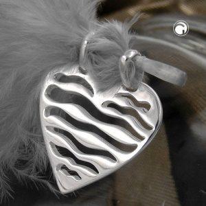 Pendentif coeur avec deux oeillets argent 925 Krossin bijoux en argent 92646x