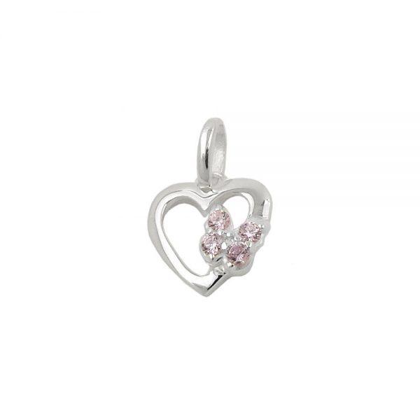 Pendentif coeur avec papillon argent 925 Krossin bijoux en argent 93802xx