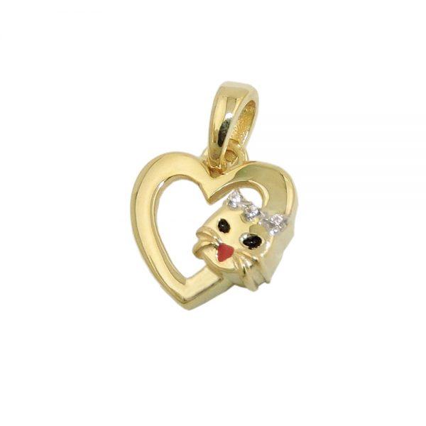 Pendentif coeur avec tete de chat en or 9 carats 431466xx