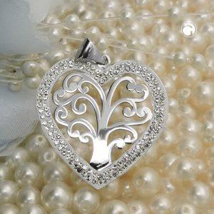 Pendentif coeur avec trois argent 925 Krossin bijoux en argent 93677x