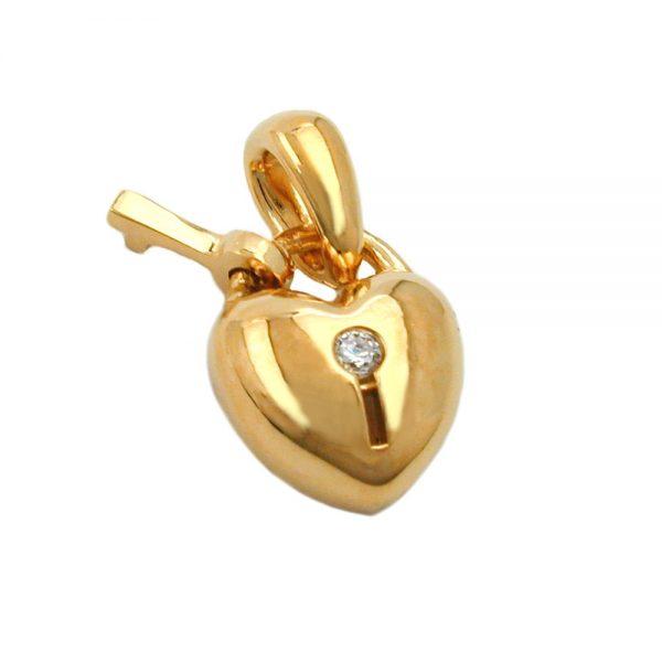Pendentif coeur avec zircon cle 3 microns plaque or 30251xx