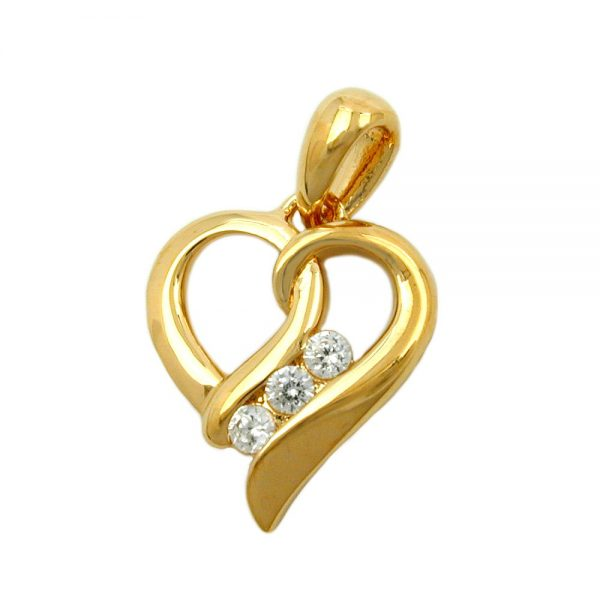 Pendentif coeur avec zircon plaque or 3 microns 30244xx