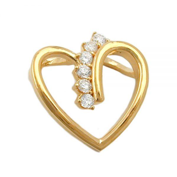 Pendentif coeur avec zircon plaque or 3 microns 30253xx