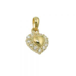 Pendentif coeur avec zircons 9k or 431461xx