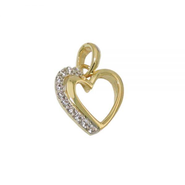 Pendentif coeur avec zircons 9k or 431468xx
