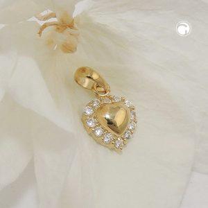 Pendentif coeur avec zircons 9k or Krossin bijoux or 431461x