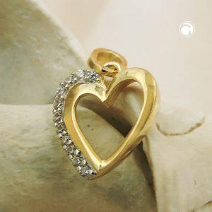 Pendentif coeur avec zircons 9k or Krossin bijoux or 431468x