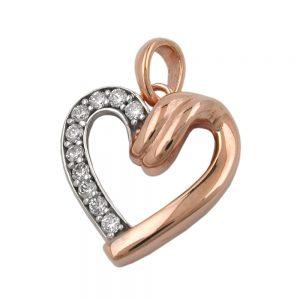 Pendentif coeur avec zircons 9k rouge or 430986xx