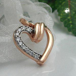 Pendentif coeur avec zircons 9k rouge or Krossin bijoux or 430986x