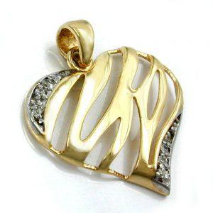 Pendentif coeur bicolore en or 9 carats 430777xx