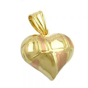 Pendentif coeur bicolore en or 9 carats 431223xx