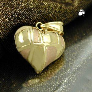 Pendentif coeur bicolore en or 9 carats Krossin bijoux or 431223x