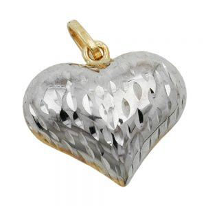 Pendentif coeur deux tons 9k or 431294xx