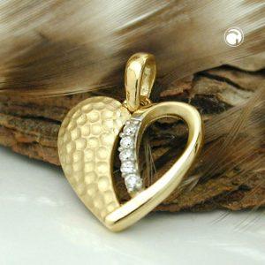 Pendentif coeur deux tons 9k or Krossin bijoux or 431256x