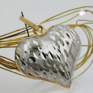 Pendentif coeur deux tons 9k or Krossin bijoux or 431294x