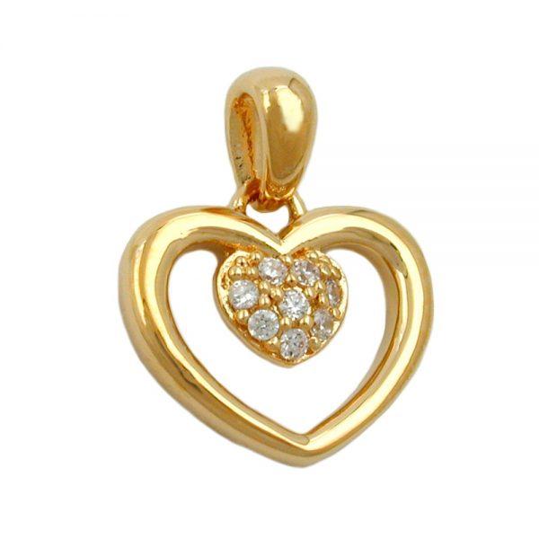 Pendentif coeur en zircon coeur 3 microns plaque or 30243xx