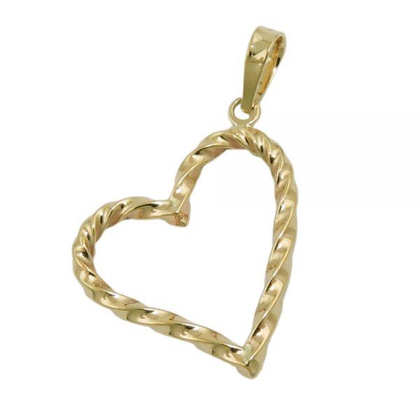 Pendentif coeur torsade en or 9 carats 431427xx