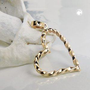 Pendentif coeur torsade en or 9 carats Krossin bijoux or 431427x