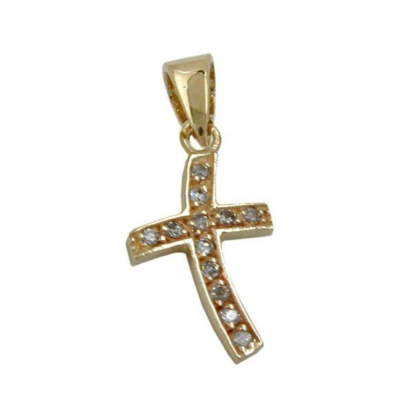 Pendentif croix avec 12 zircons en or 9 carats 430261xx
