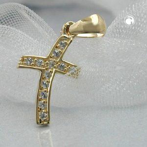 Pendentif croix avec 12 zircons en or 9 carats Krossin bijoux or 430261x