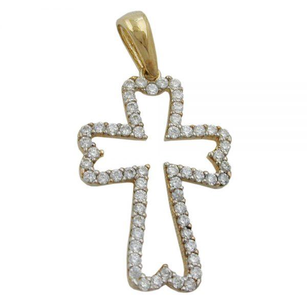 Pendentif croix avec Zircons 9k or 431307xx