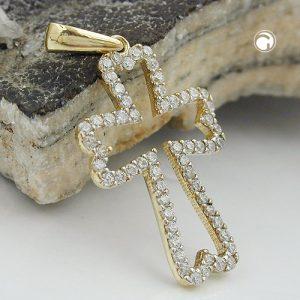 Pendentif croix avec Zircons 9k or Krossin bijoux or 431307x
