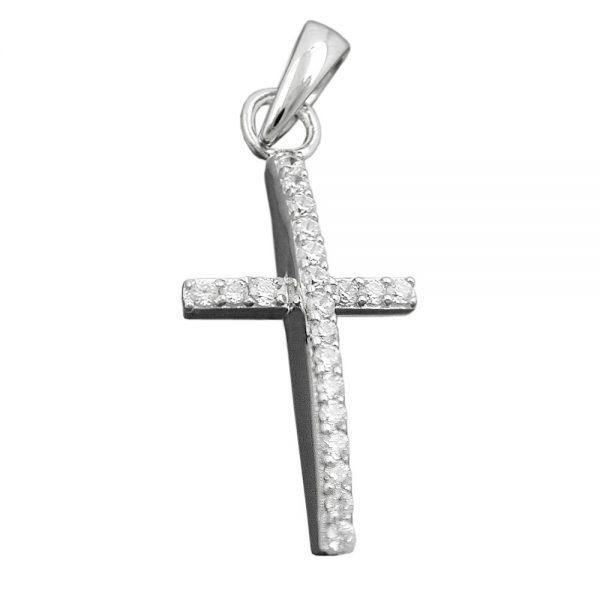 Pendentif croix avec Zircons argent 925 Krossin bijoux en argent 93397xx