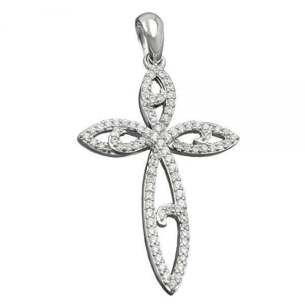 Pendentif croix avec Zircons argent 925 Krossin bijoux en argent 94019xx