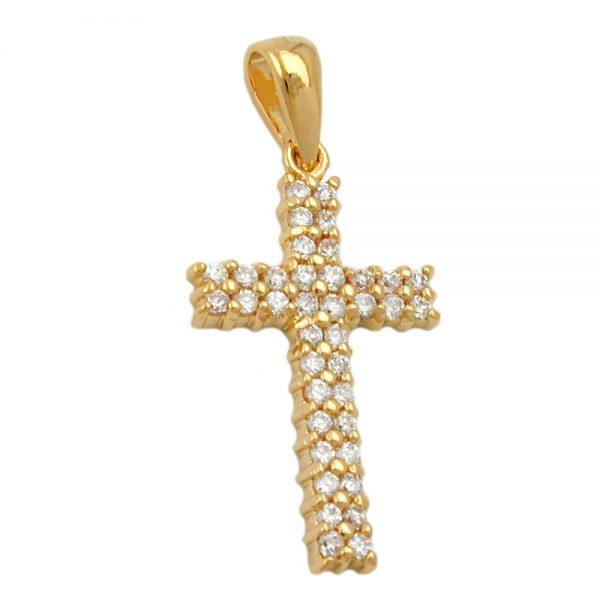 Pendentif croix avec zircon plaque or 3 microns 30256xx