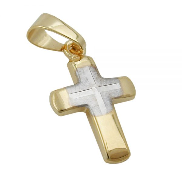 Pendentif croix bicolore en or 9 carats 431272xx