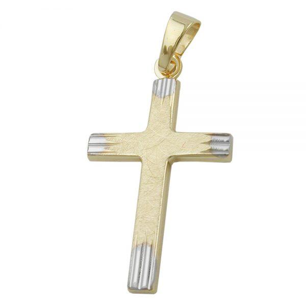 Pendentif croix bicolore en or 9 carats 431276xx
