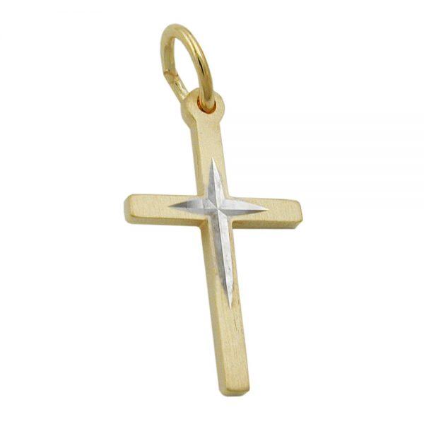Pendentif croix bicolore en or 9 carats 431279xx