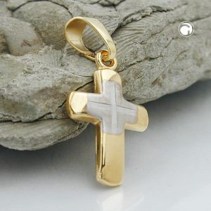 Pendentif croix bicolore en or 9 carats Krossin bijoux or 431272x