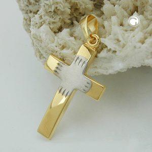 Pendentif croix bicolore en or 9 carats Krossin bijoux or 431273x