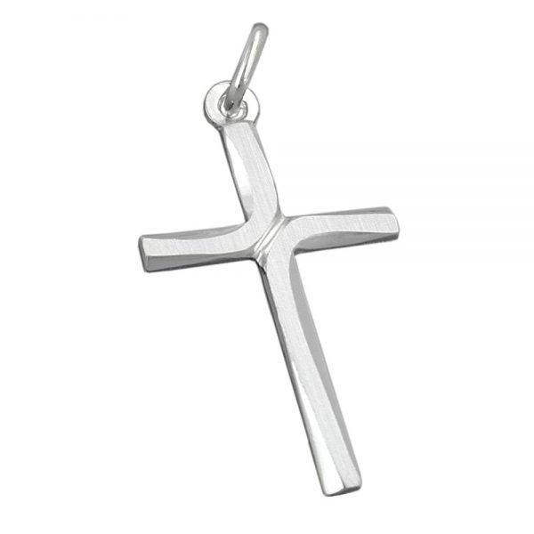 Pendentif croix brillant   argent mat 925 Krossin bijoux en argent 90972xx