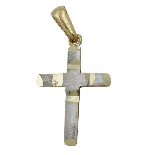Pendentif croix deux tons 9k or 431297xx