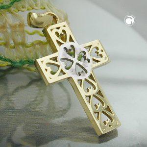 Pendentif croix deux tons 9k or Krossin bijoux or 431300x