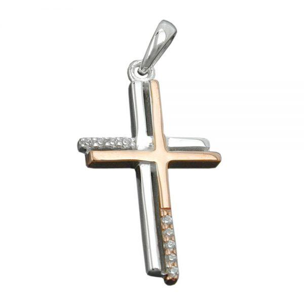 Pendentif croix deux tons 9k or blanc 431258xx