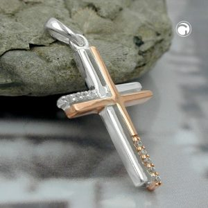 Pendentif croix deux tons 9k or blanc Krossin bijoux or 431258x