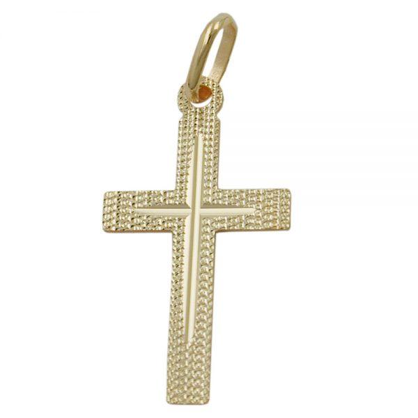 Pendentif croix diamant taille en or 9 carats 431329xx